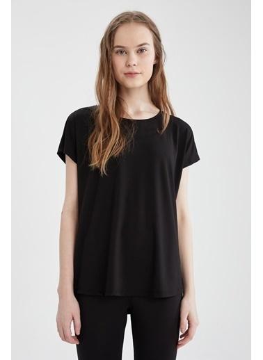 DeFacto Relax Fit Basic Kısa Kol T-shirt Siyah